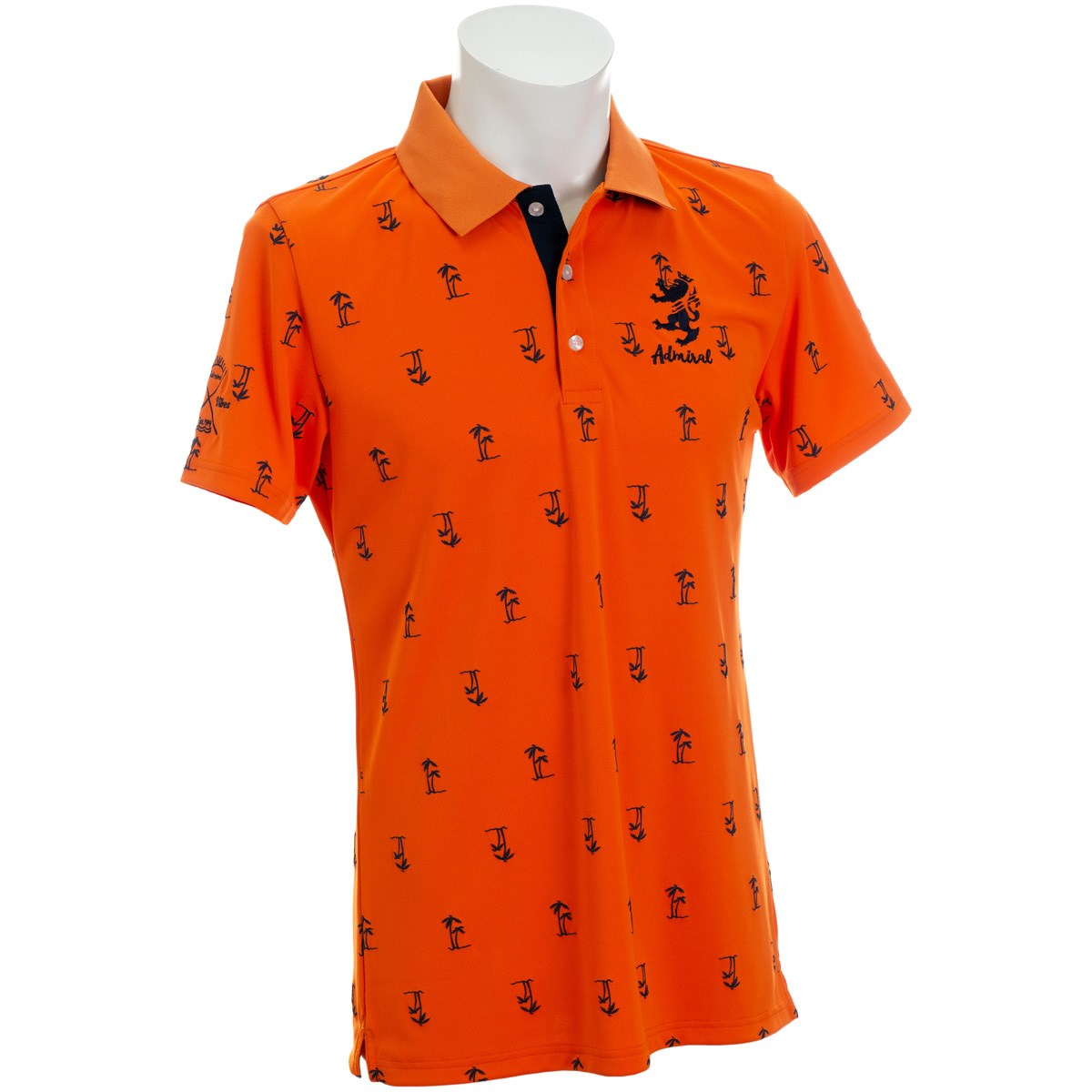 アドミラル ヤシノキ柄プリント 半袖ポロシャツ