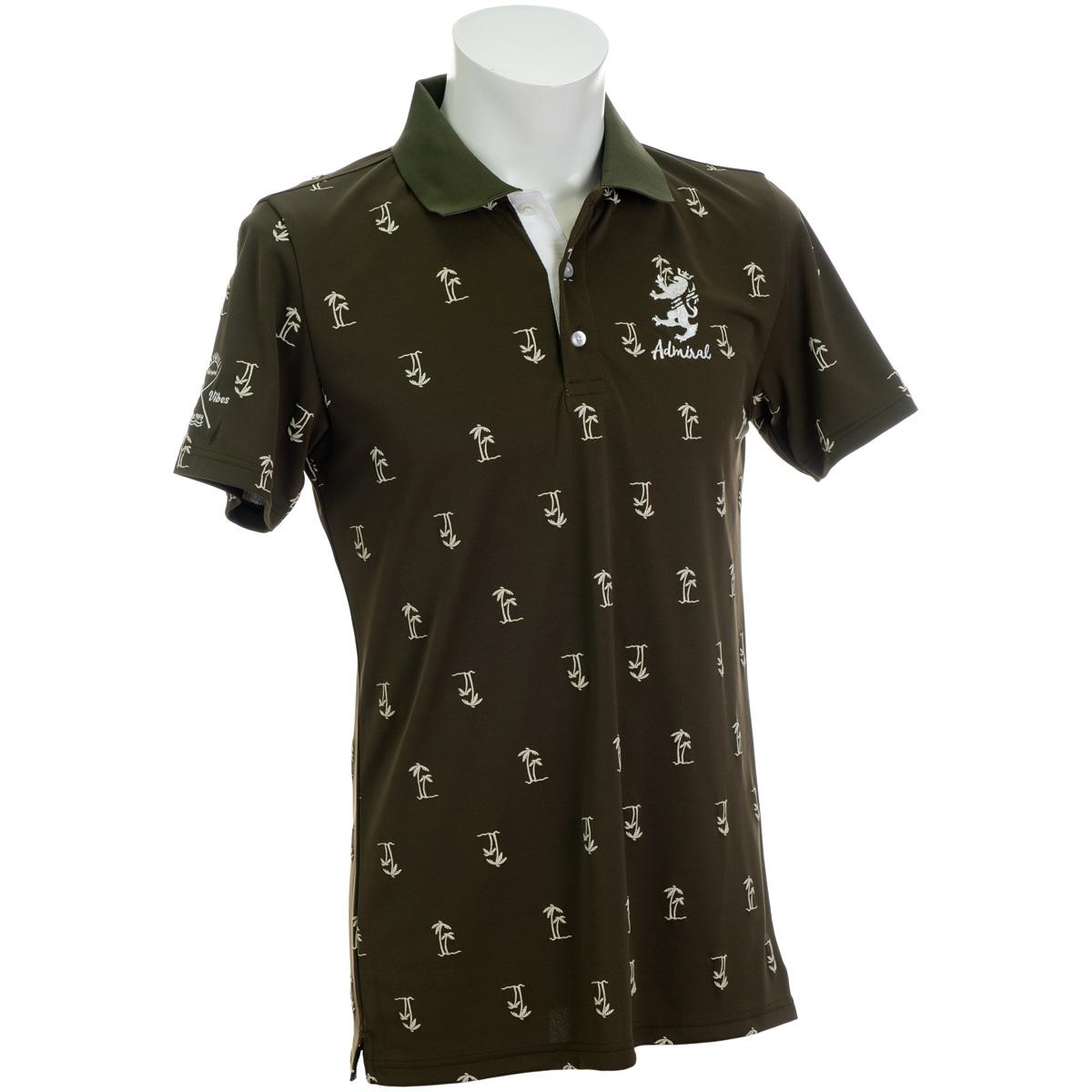 ヤシノキ柄プリント 半袖ポロシャツ