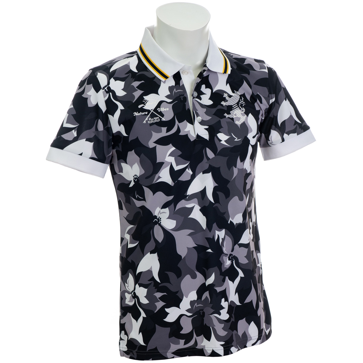 フラワーカモ柄 半袖ポロシャツ