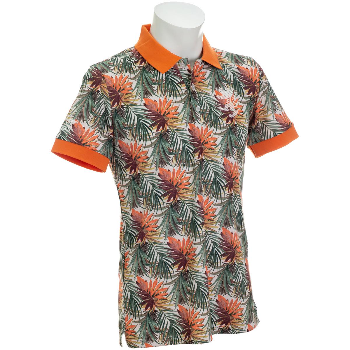 リーフプリント 半袖ポロシャツ