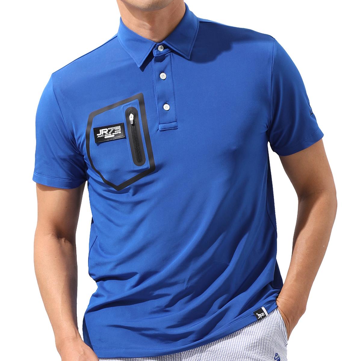 ポケットジップ使い半袖ポロシャツ