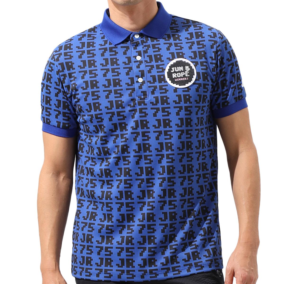 75柄プリント半袖ポロシャツ