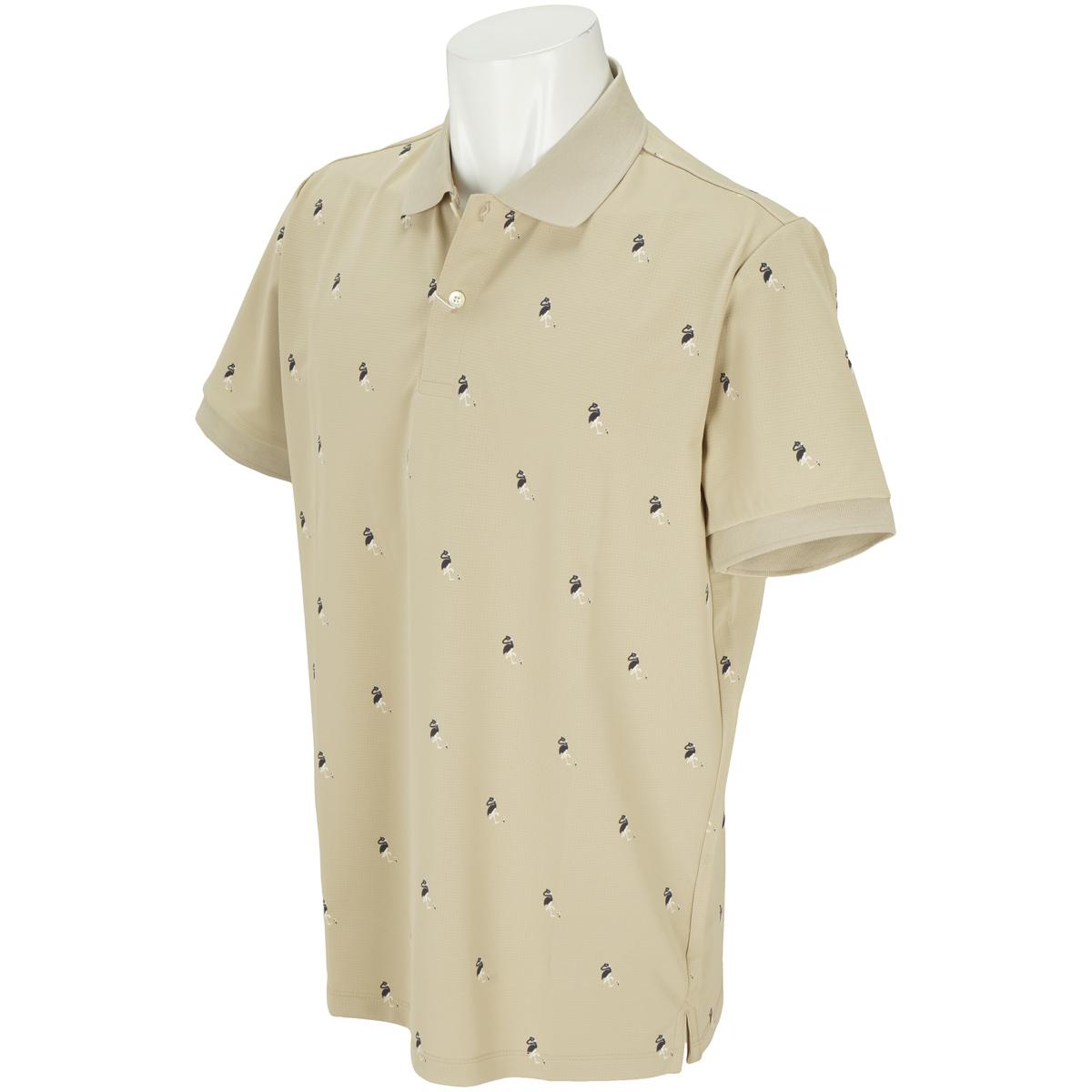 フラミンゴ柄プリント半袖ポロシャツ