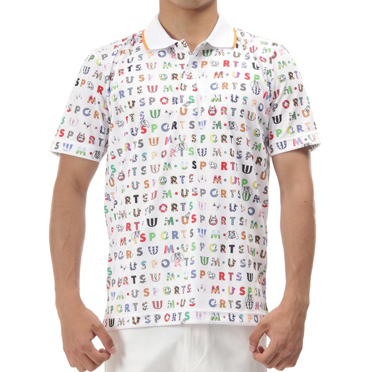 マルチカラーロゴ総柄半袖ポロシャツ
