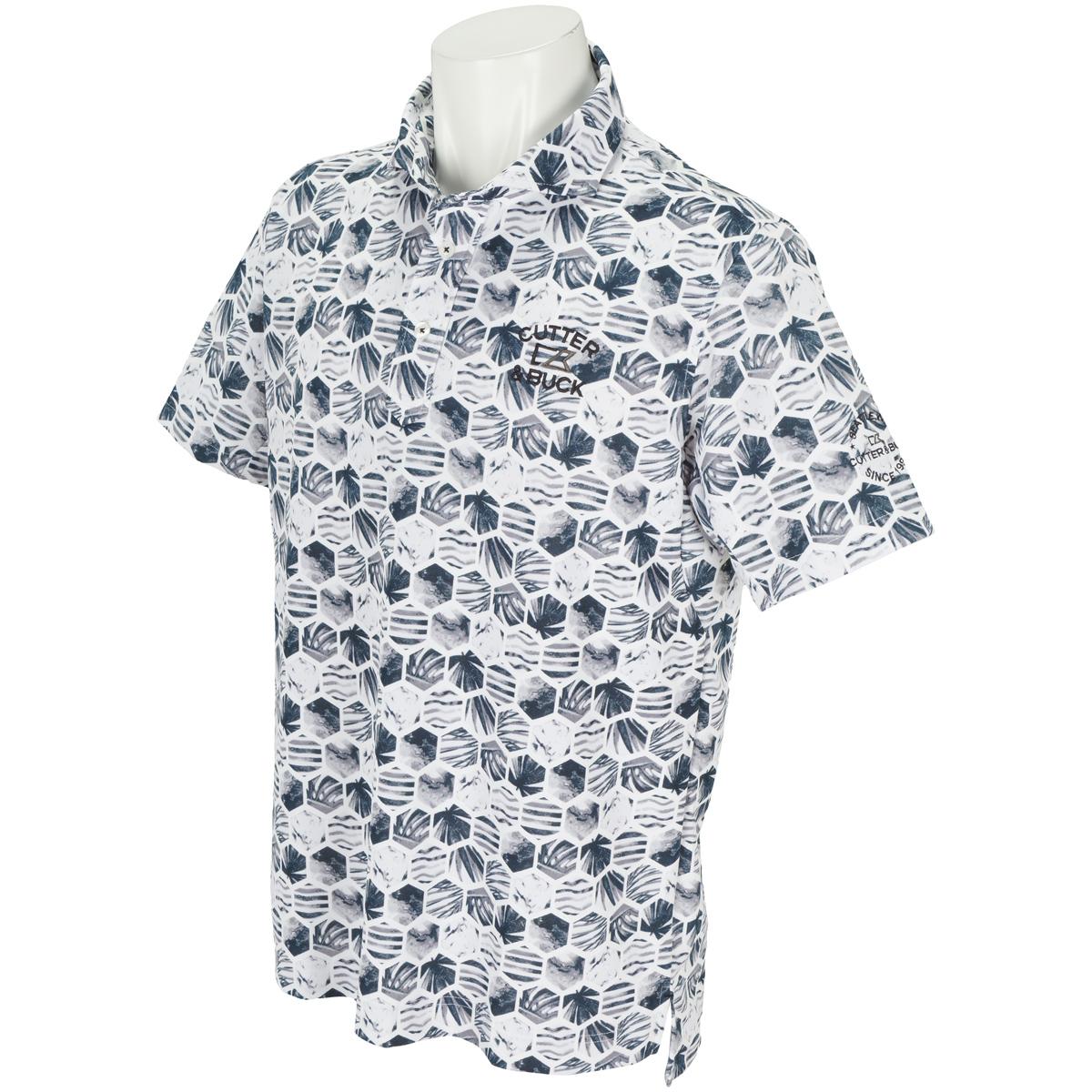 鹿の子プリント半袖ポロシャツ