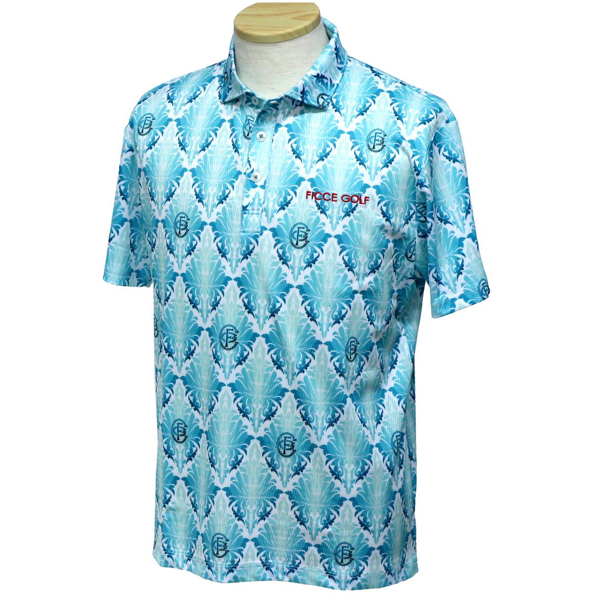 ストレッチ リーフ柄半袖ポロシャツ