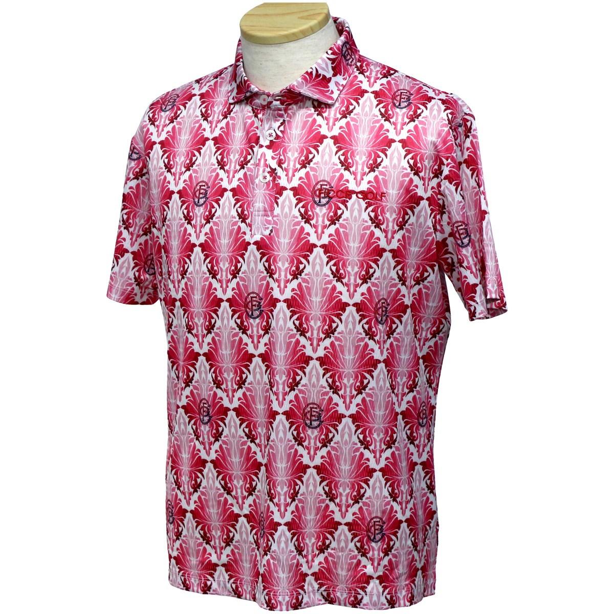 フィッチェゴルフ ストレッチ リーフ柄半袖ポロシャツ