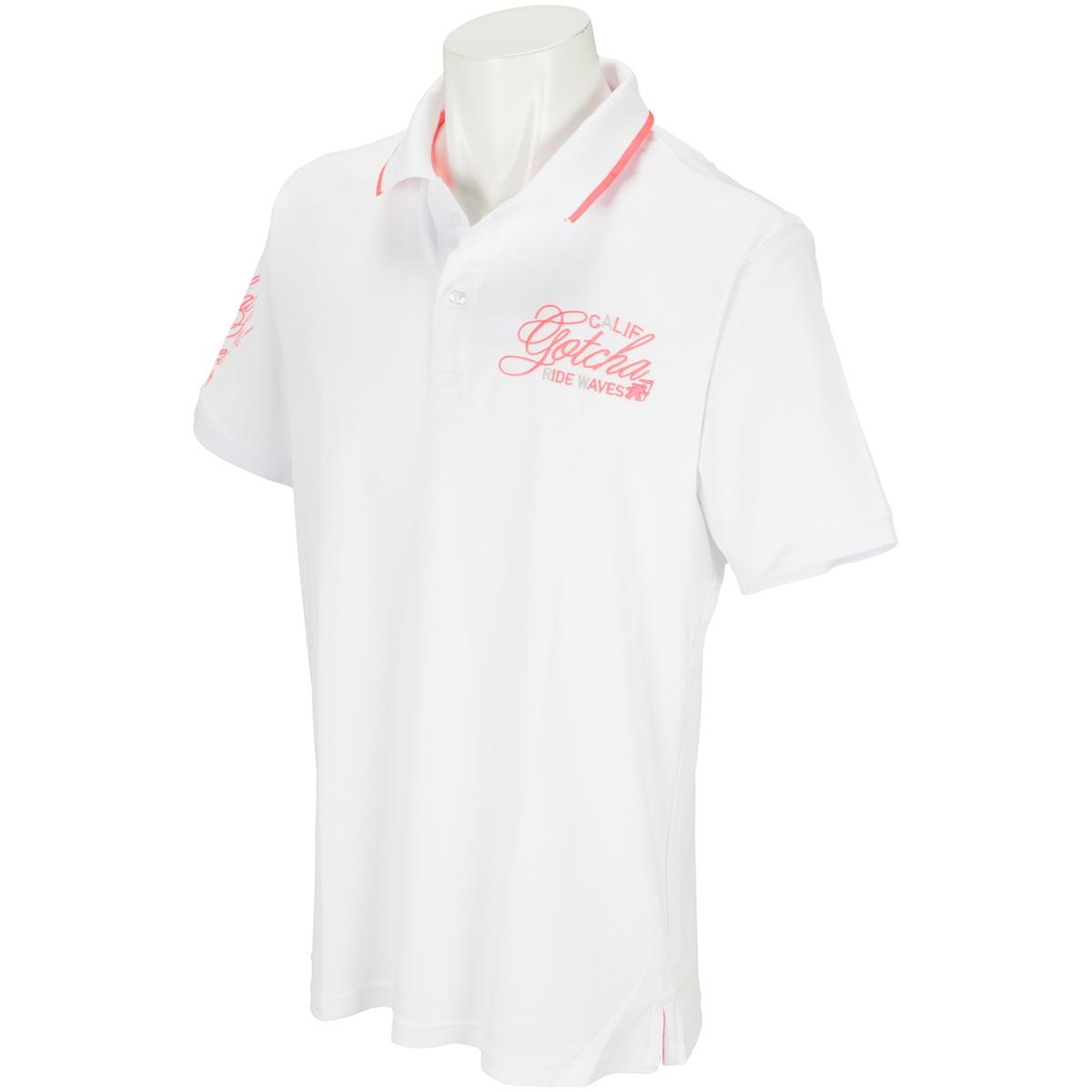 ドライ メッシュ ネオン刺繍半袖ポロシャツ