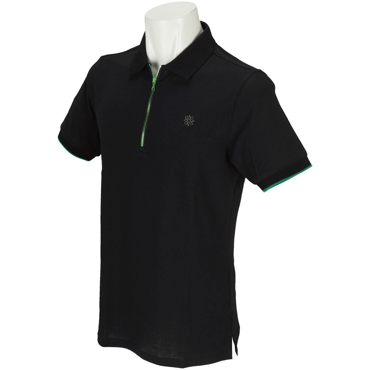 セント・アンドリュース BlackLabel 表亀甲柄ジャガード半袖ポロシャツ