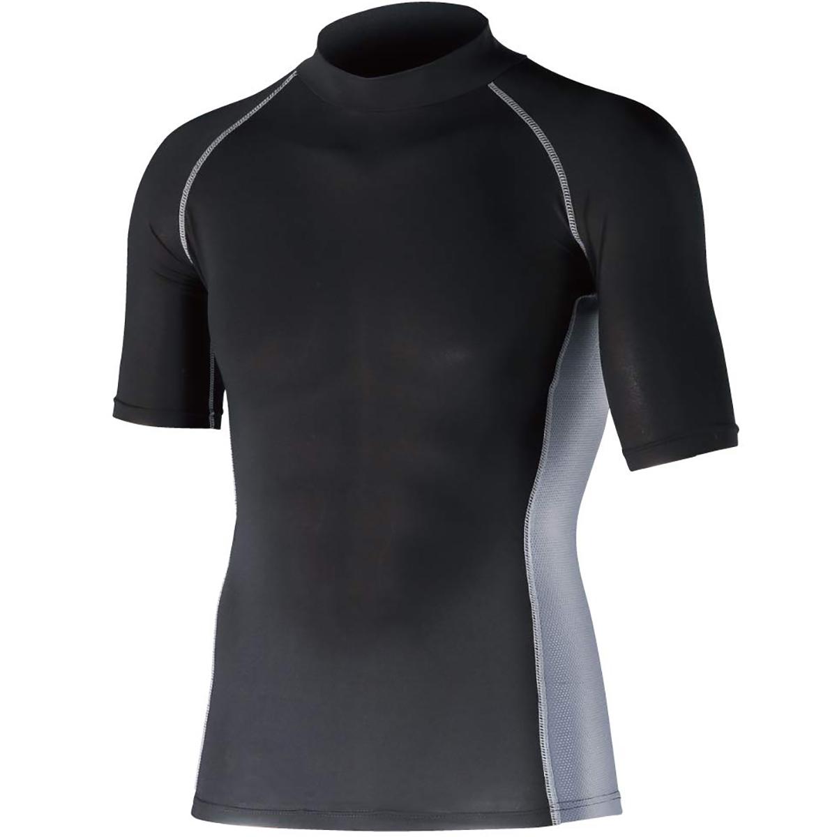 冷感 消臭 パワーストレッチ 半袖ハイネックインナーシャツ