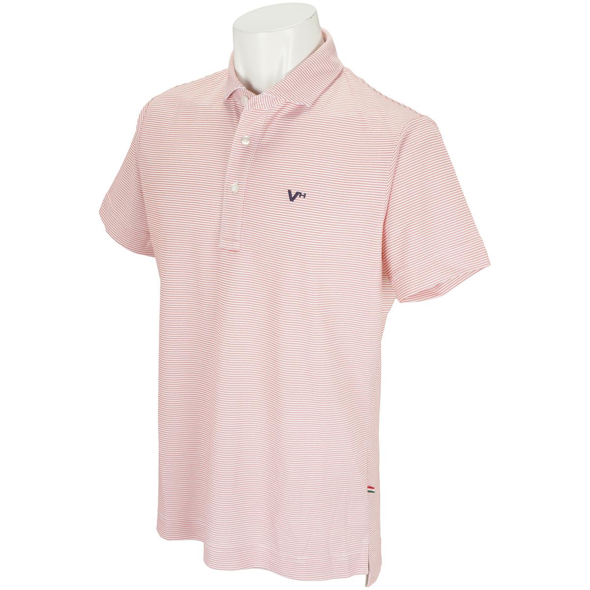 ワッフルボーダー 半袖ポロシャツ