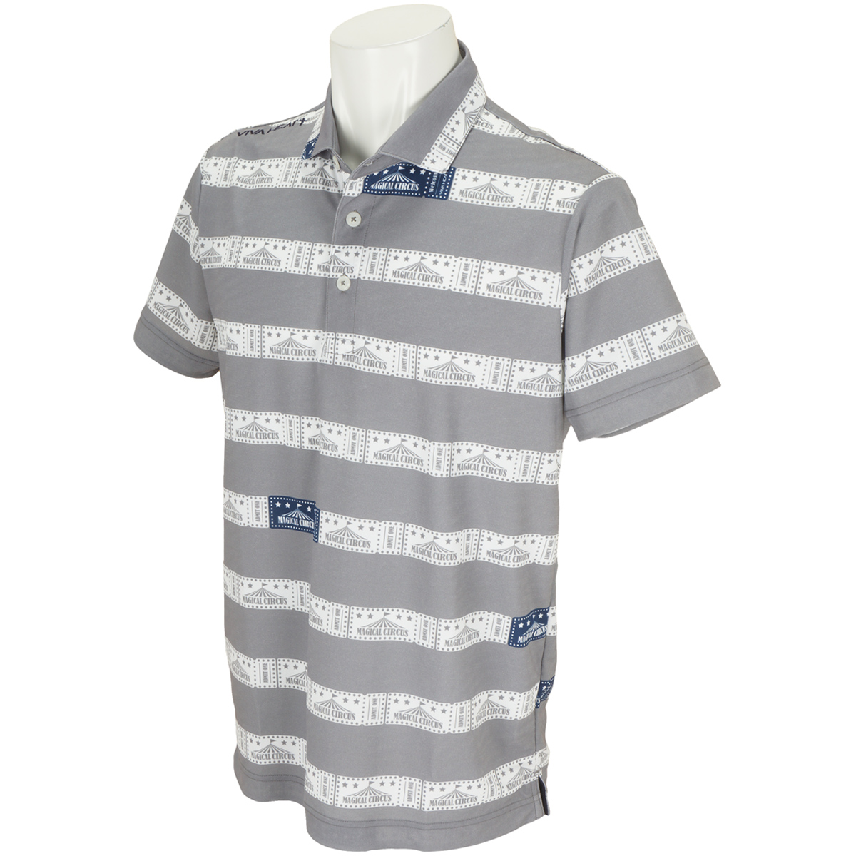 チケットボーダー鹿の子 半袖ポロシャツ