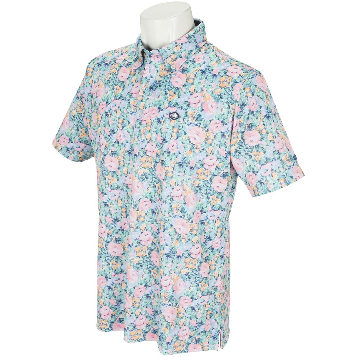 フラワー半袖ポロシャツ