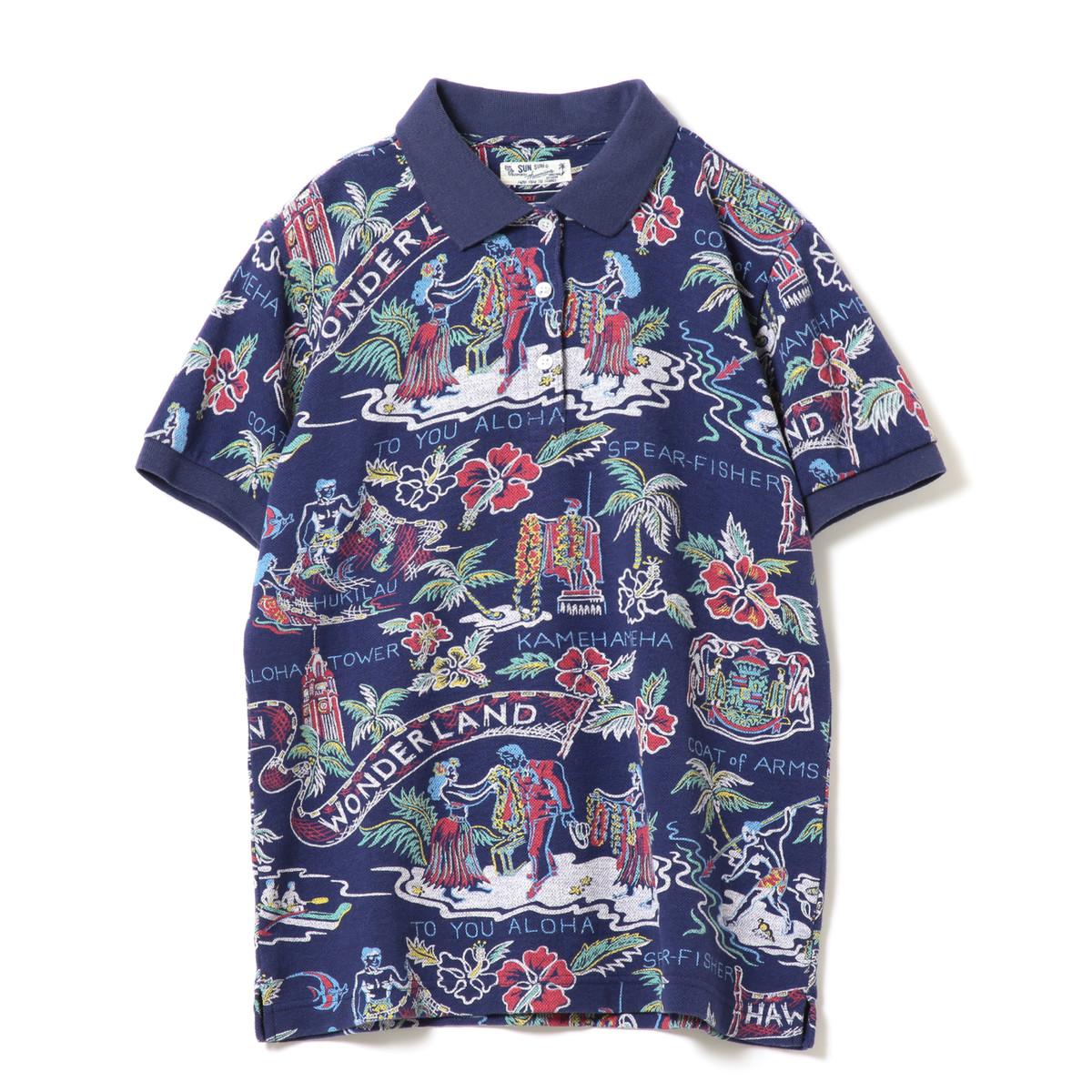 SUN SURF×BEAMS GOLF 別注 ハワイアン カノコ ポロシャツ