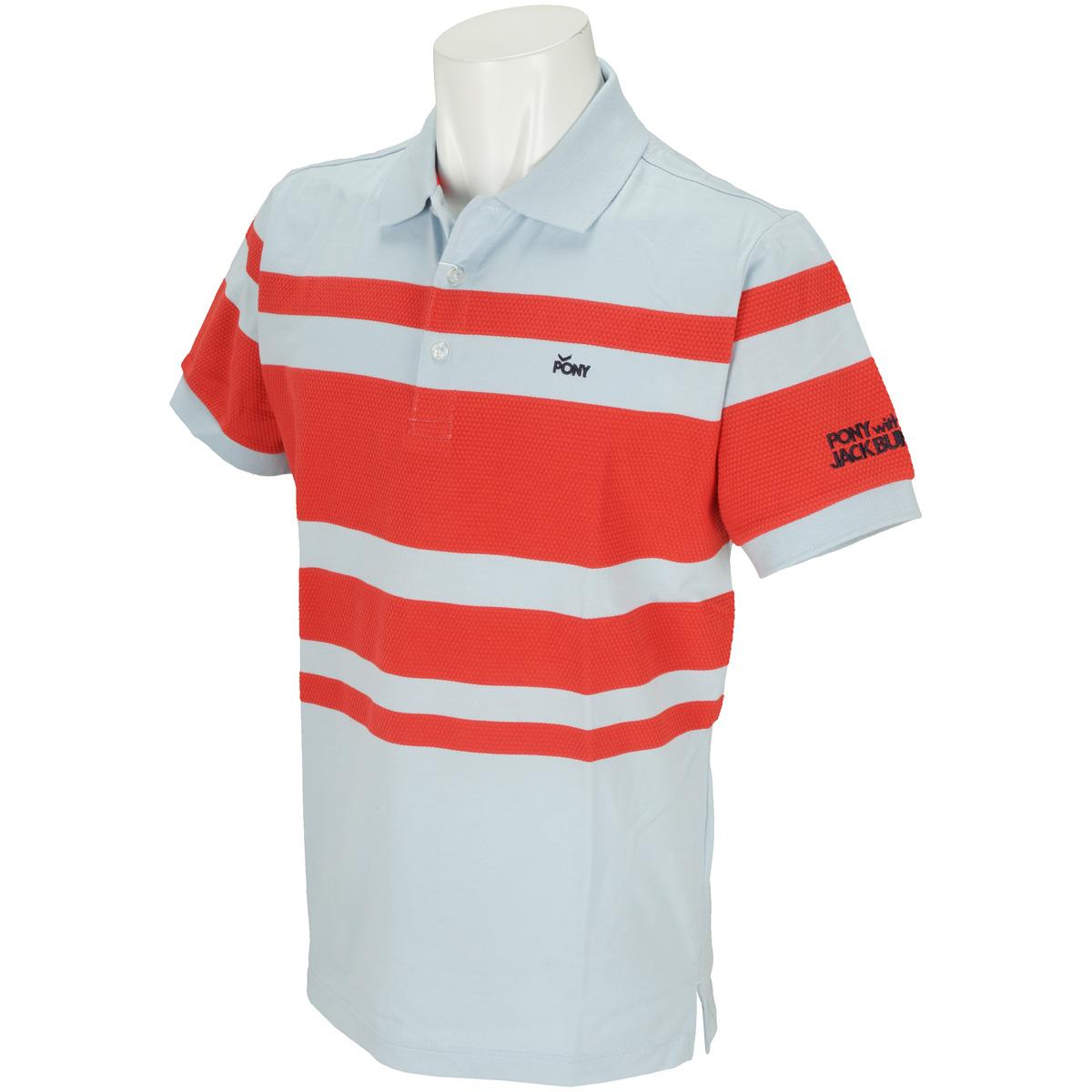 PONY 変形パネルボーダー 半袖ポロシャツ