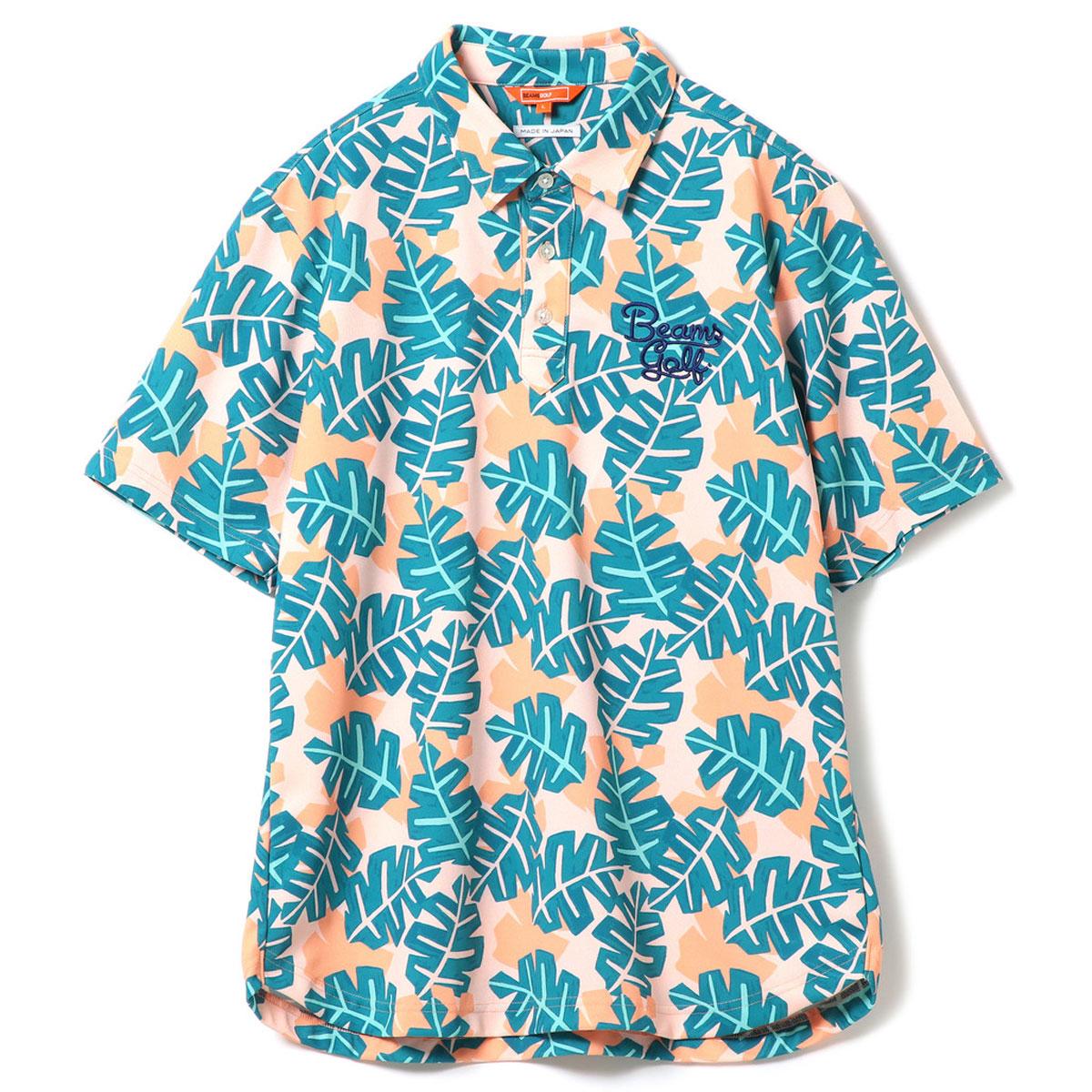 BEAMS GOLF ORANGE LABEL ハワイアン リーフ柄 ポロシャツ
