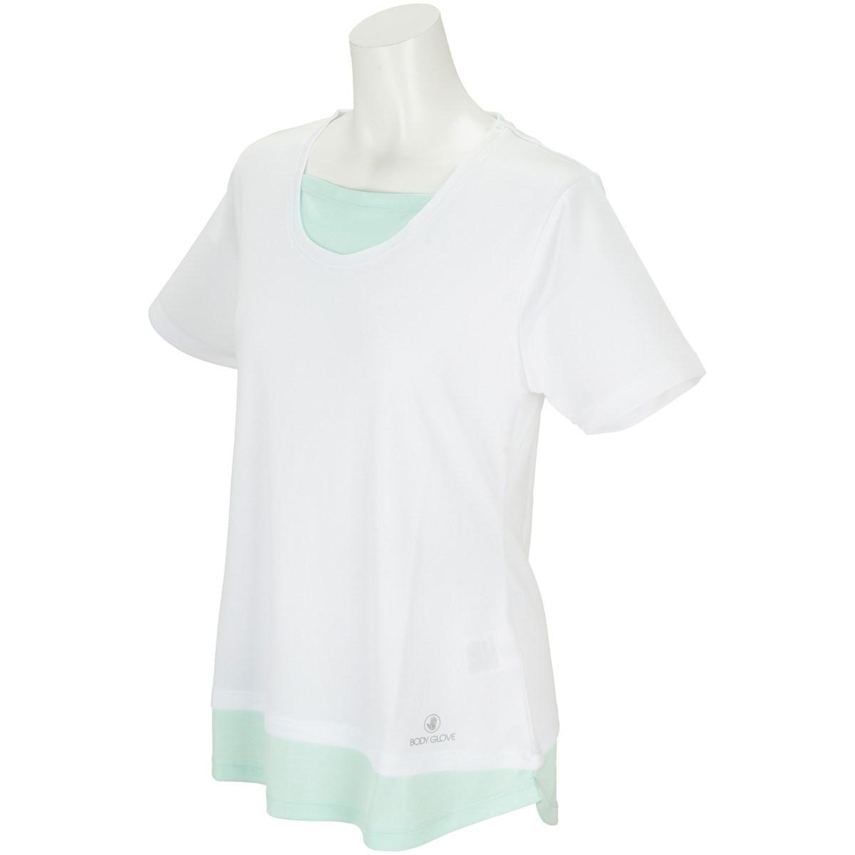 ボディグローブ BODY GLOBE フェイクレイヤード半袖Tシャツ M ホワイト レディス