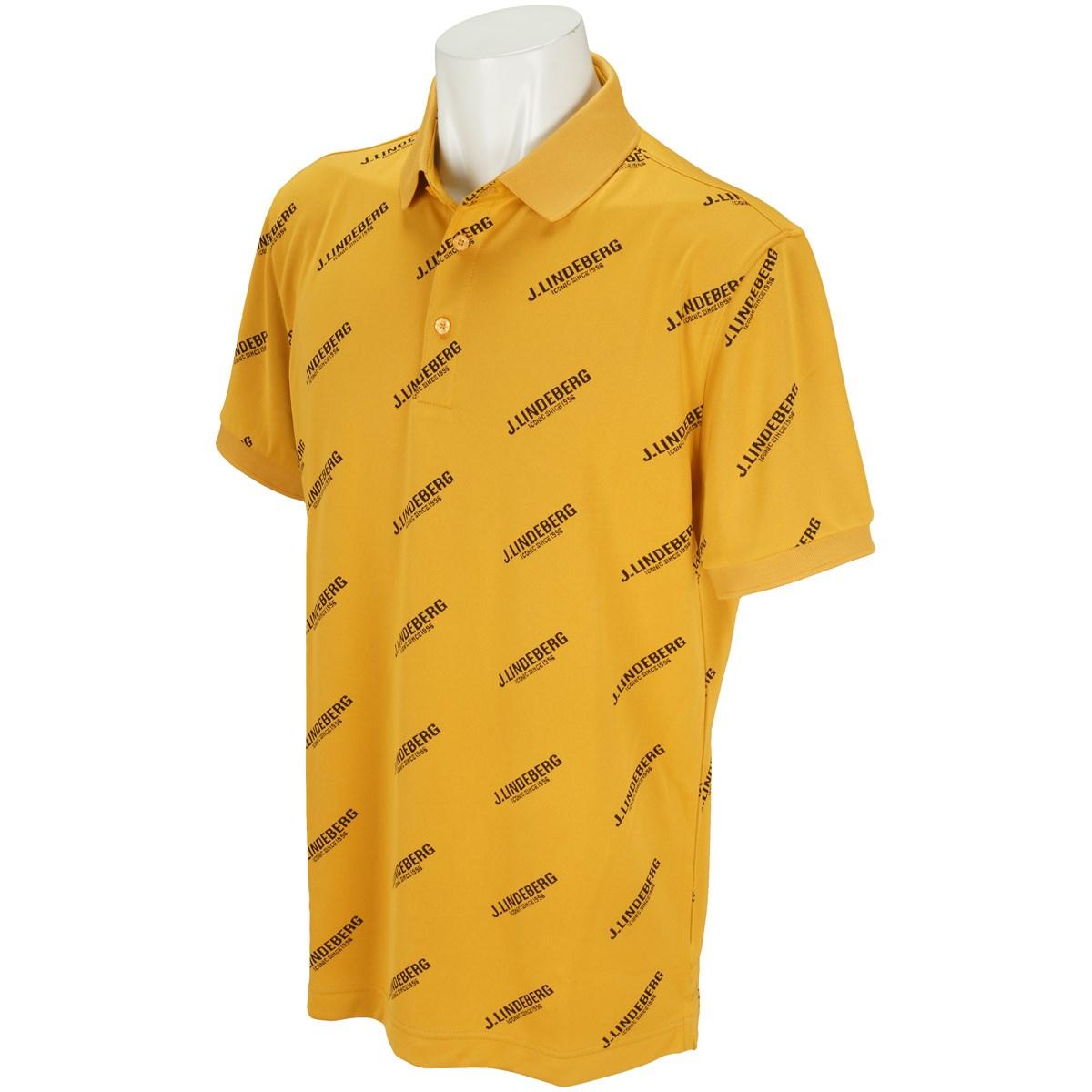 J.リンドバーグ 限定モデル Allover printed logos on M TOUR TECH SLIM TX JERSEY ストレッチ半袖ポロシャツ
