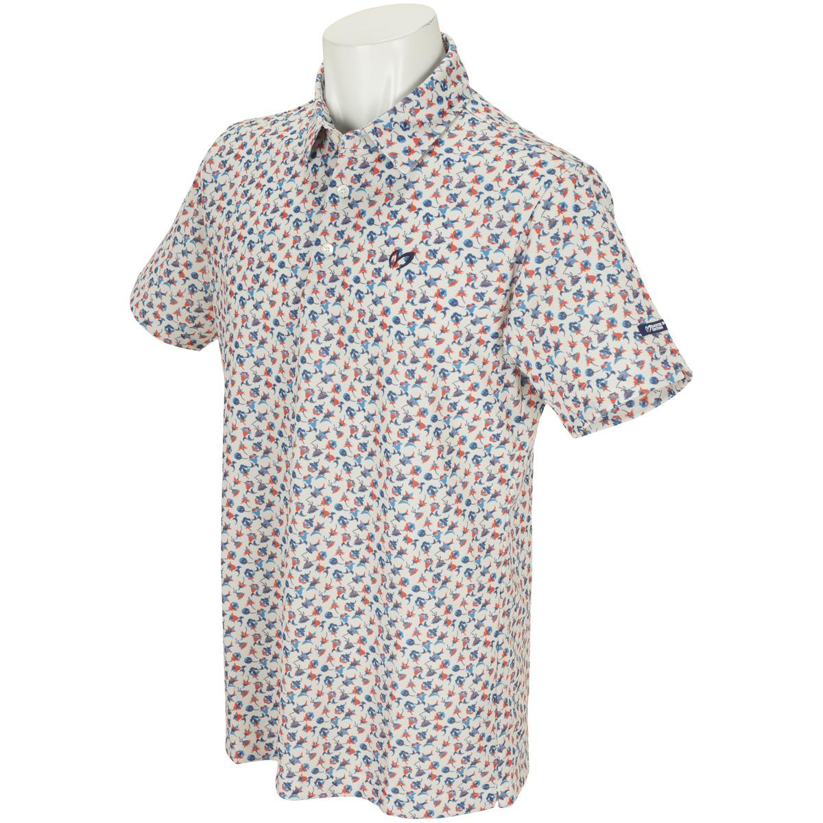 つぼみ柄プリント プレミアムTEX 半袖ポロシャツ