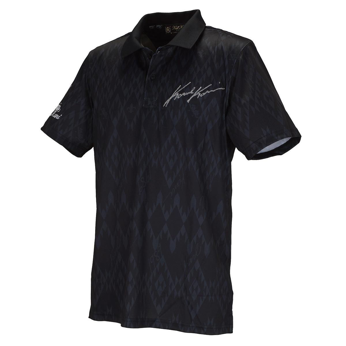 アフリカン オルテガ 総柄 半袖ポロシャツ