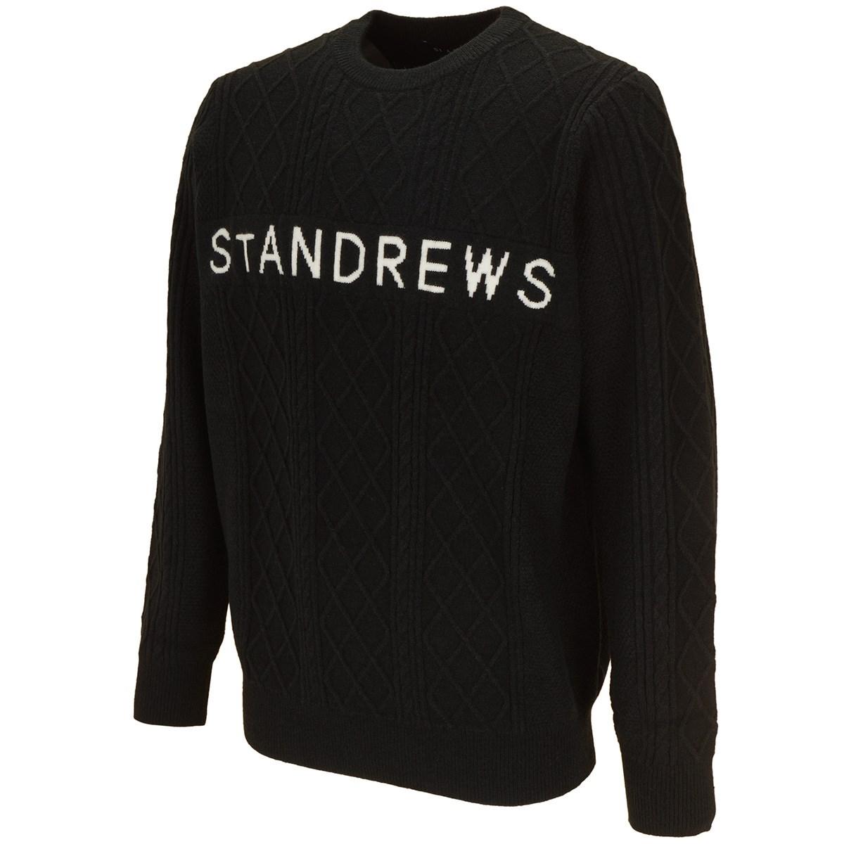 セント・アンドリュース St ANDREWS ケーブルロゴインターシャプルオーバー M ブラック 010