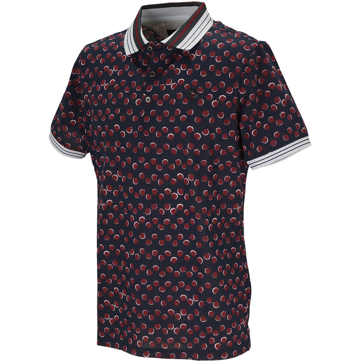 BlackLabel 半回縞ドットプリント半袖ポロシャツ