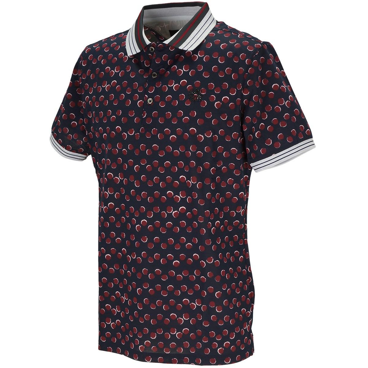 セント・アンドリュース BlackLabel 半回縞ドットプリント半袖ポロシャツ