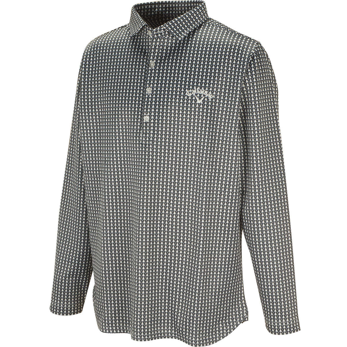 ダブルトライアングルプリント共襟長袖ポロシャツ