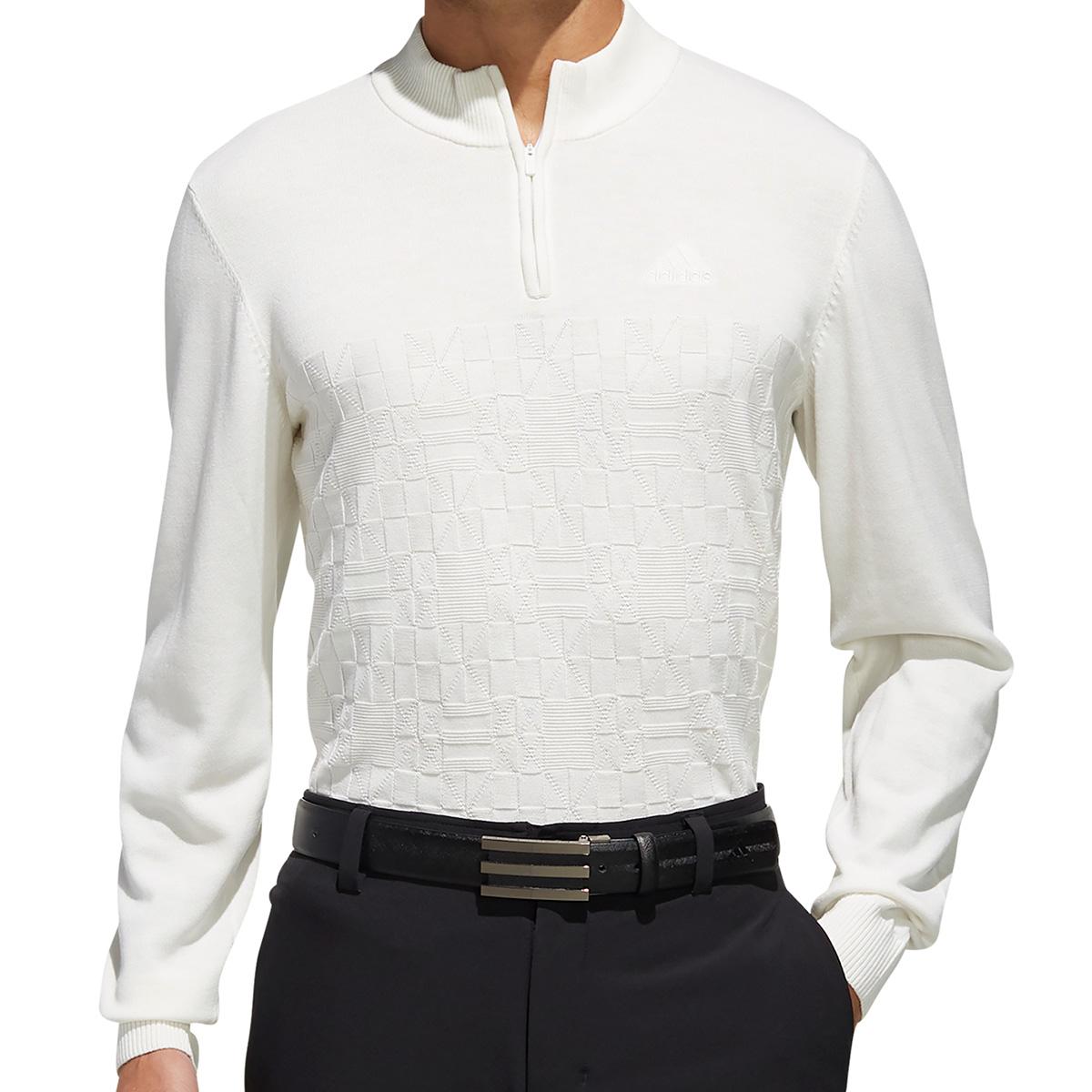 ジャカードパターン 長袖ジップアップセーター