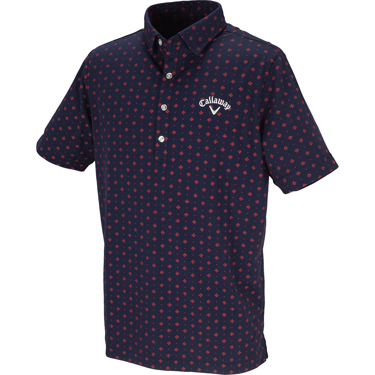 ドットプリントミニワッフル共襟半袖ポロシャツ