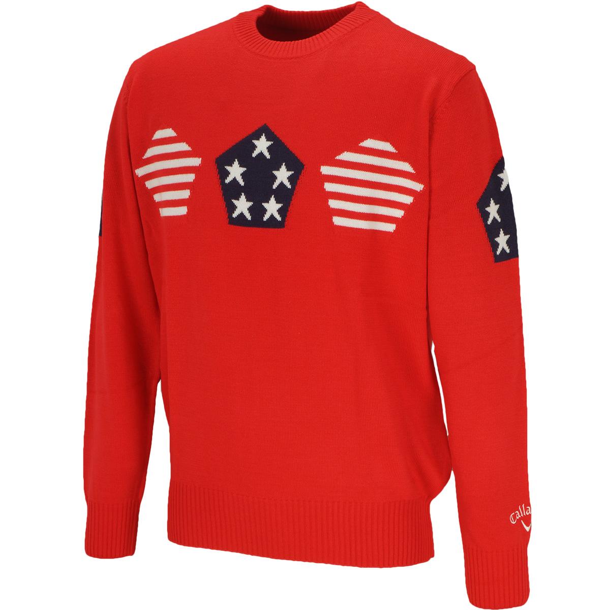 アメリカ柄クルーネックセーター