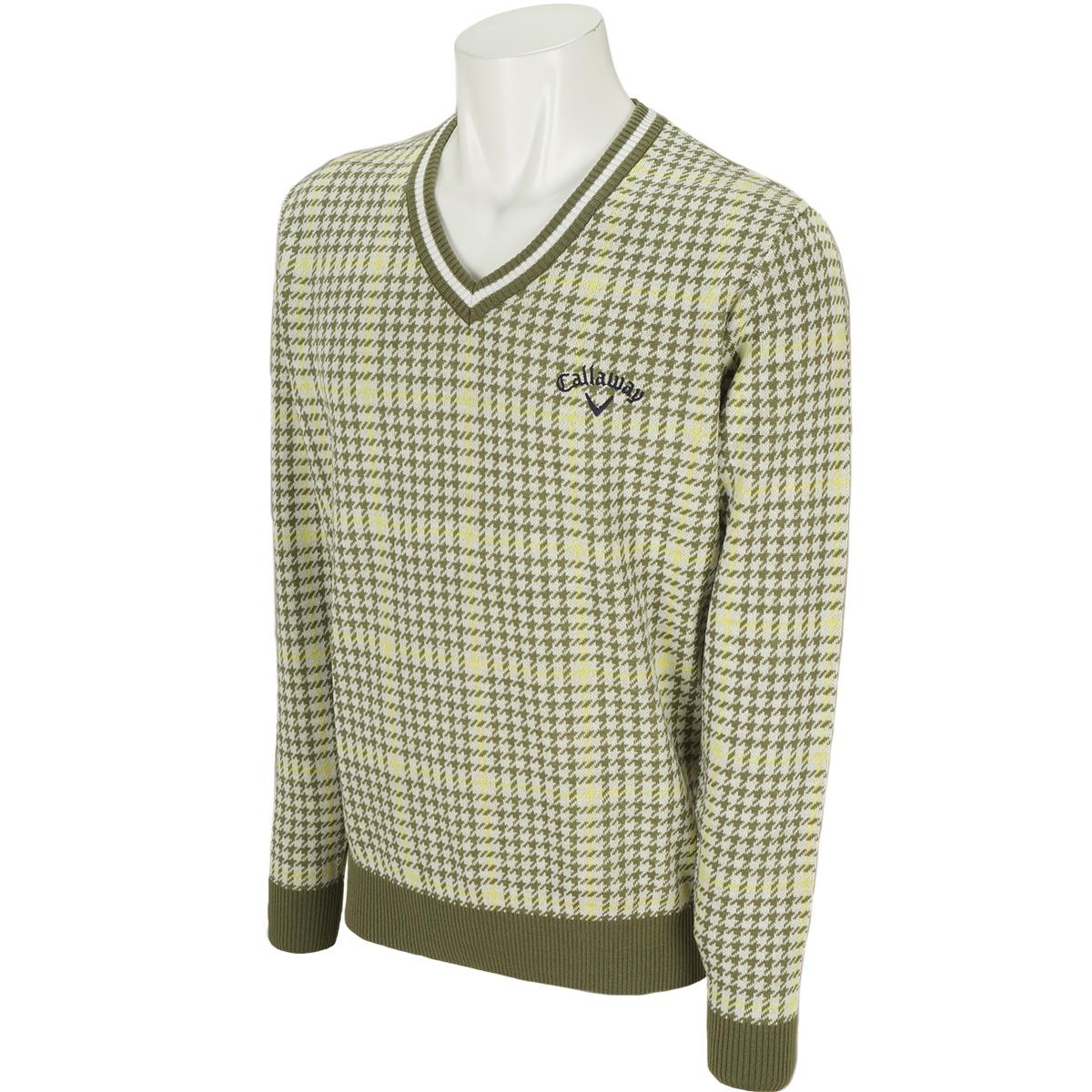 チェックVネックセーター
