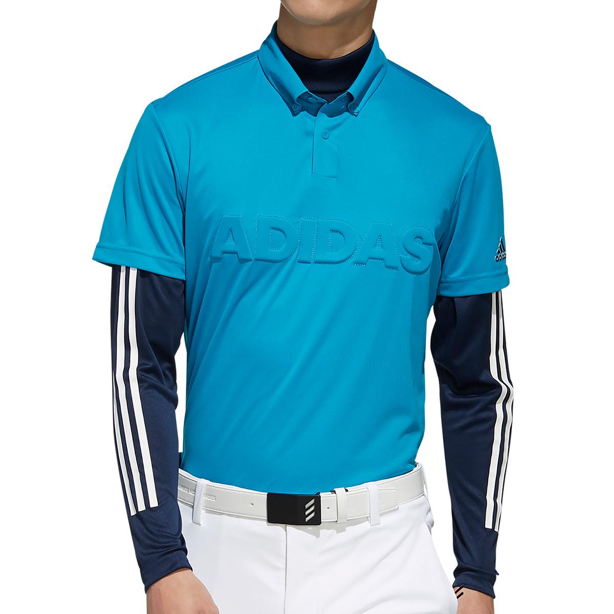 デボスロゴ レイヤード 半袖ボタンダウンポロシャツ