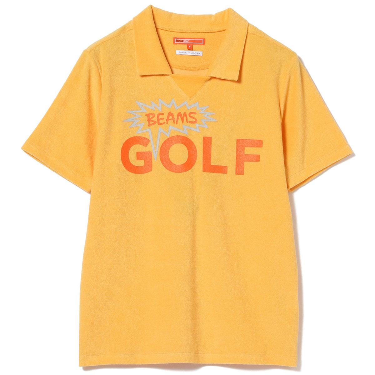 BEAMS GOLF ORANGE LABEL 「BEAT」ロゴ パイル ポロシャツ