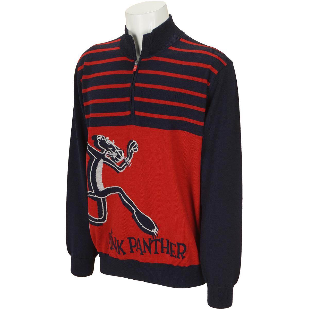 PP手刺繍+ジャカードハーフジップセーター