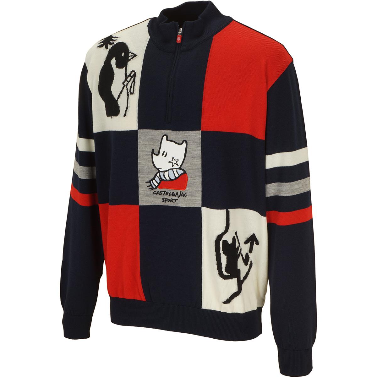 ウール配色ジャカード刺繍入りハーフジップセーター
