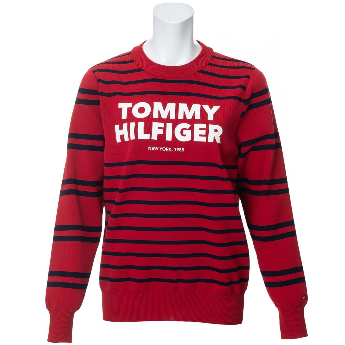 トミー ヒルフィガー ゴルフ TOMMY HILFIGER GOLF ボーダー クルーネックセーター S レッド レディス