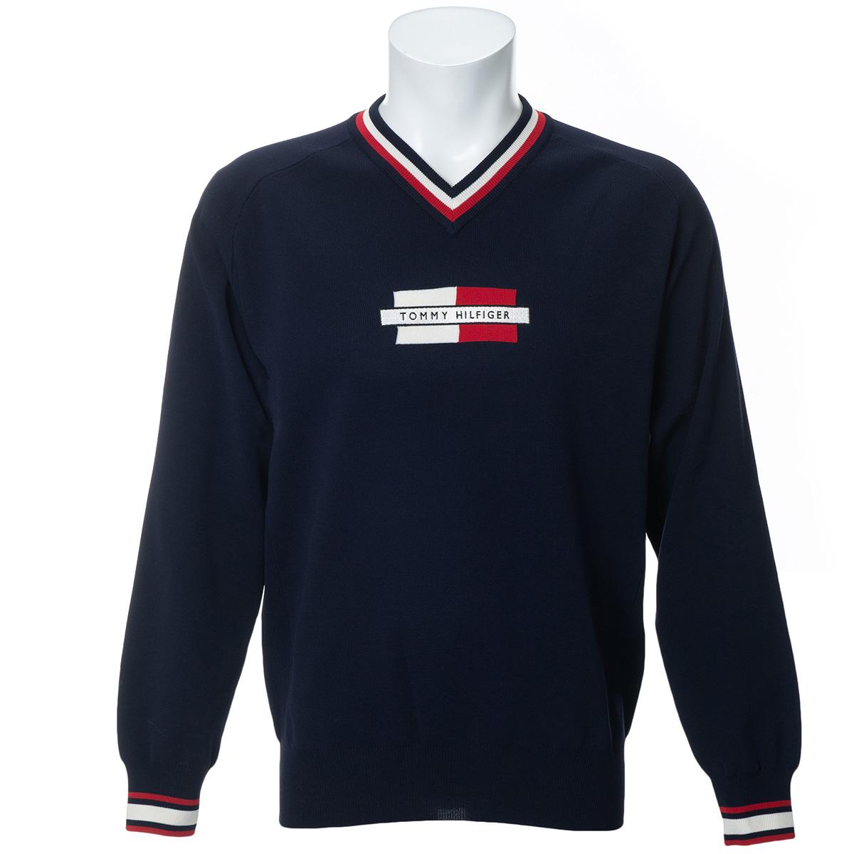 ロゴ Vネックセーター