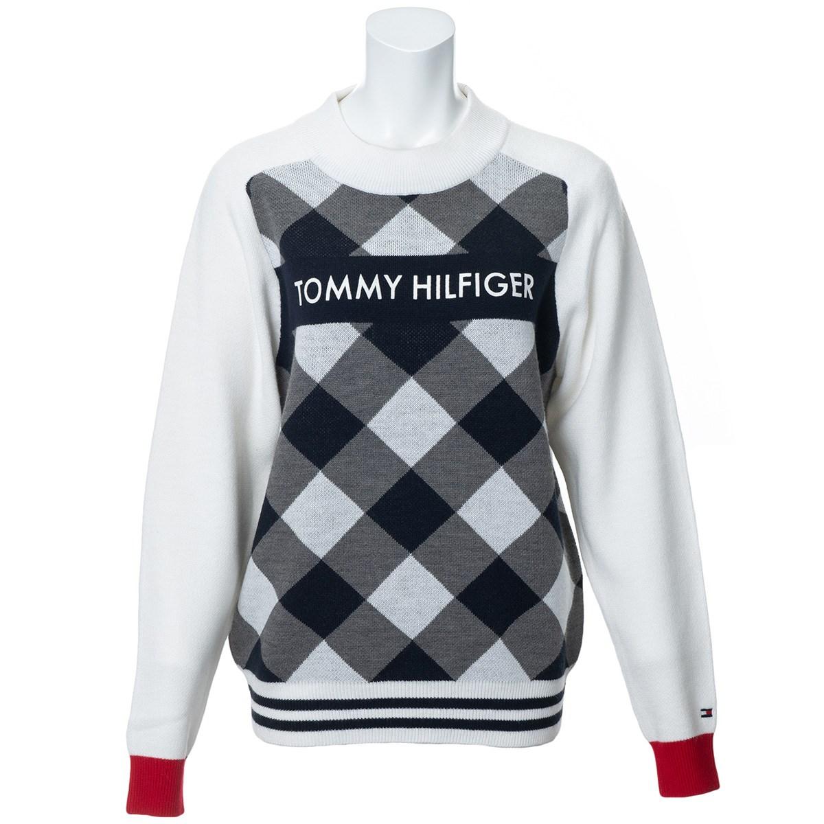 トミー ヒルフィガー ゴルフ TOMMY HILFIGER GOLF バイアスチェック セーター M ホワイト レディス
