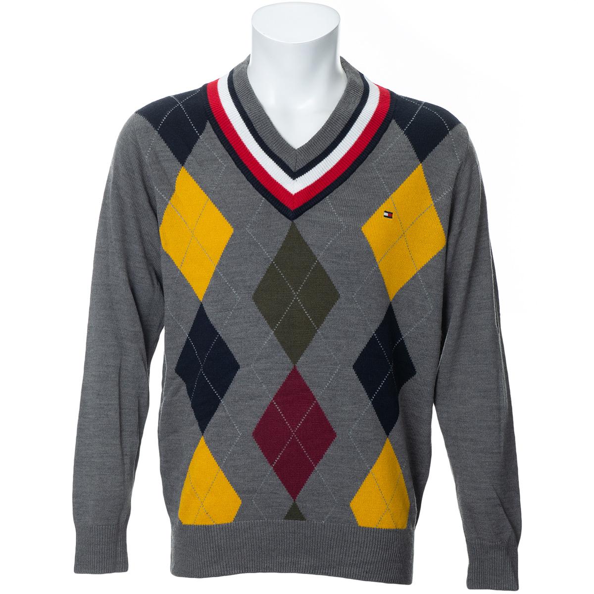 フラッグ アーガイル Vネックセーター