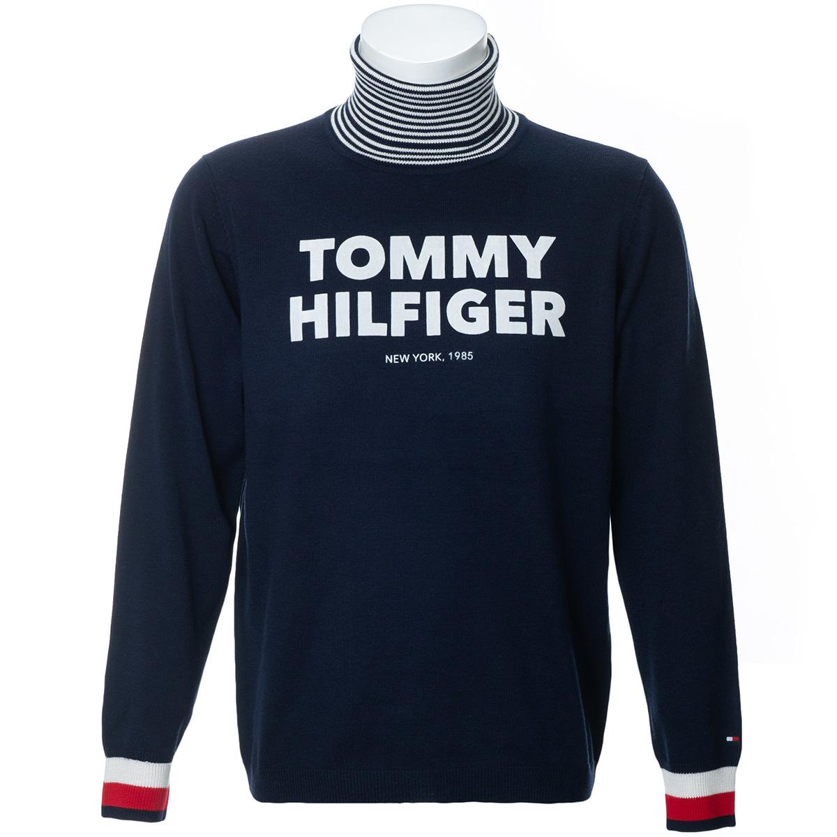 ロゴ タートルネックセーター