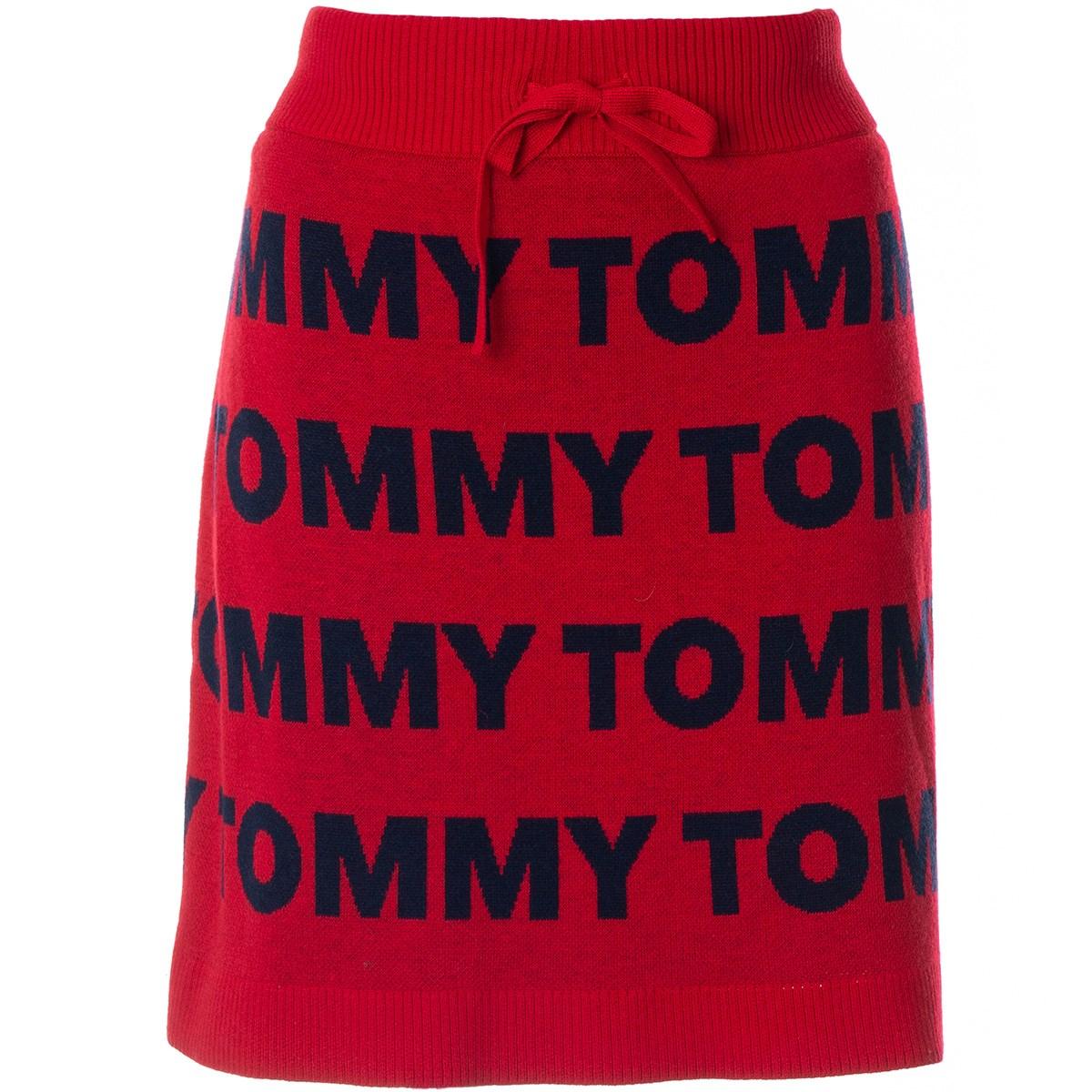 トミー ヒルフィガー ゴルフ TOMMY HILFIGER GOLF ロゴ ニットスカート M レッド レディス