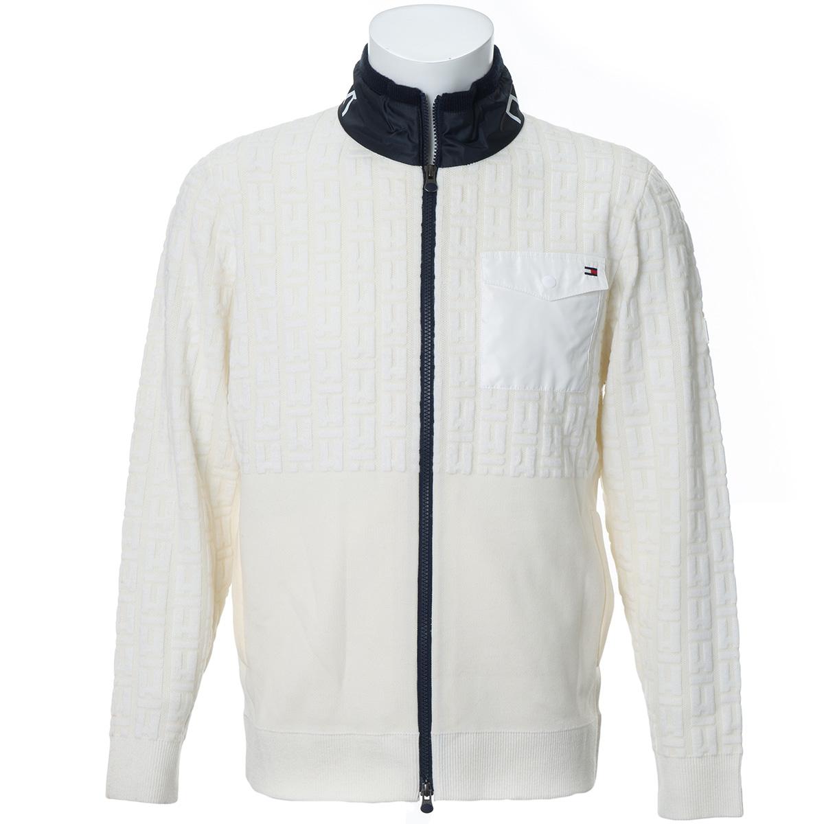 ロゴ ジップアップセーター