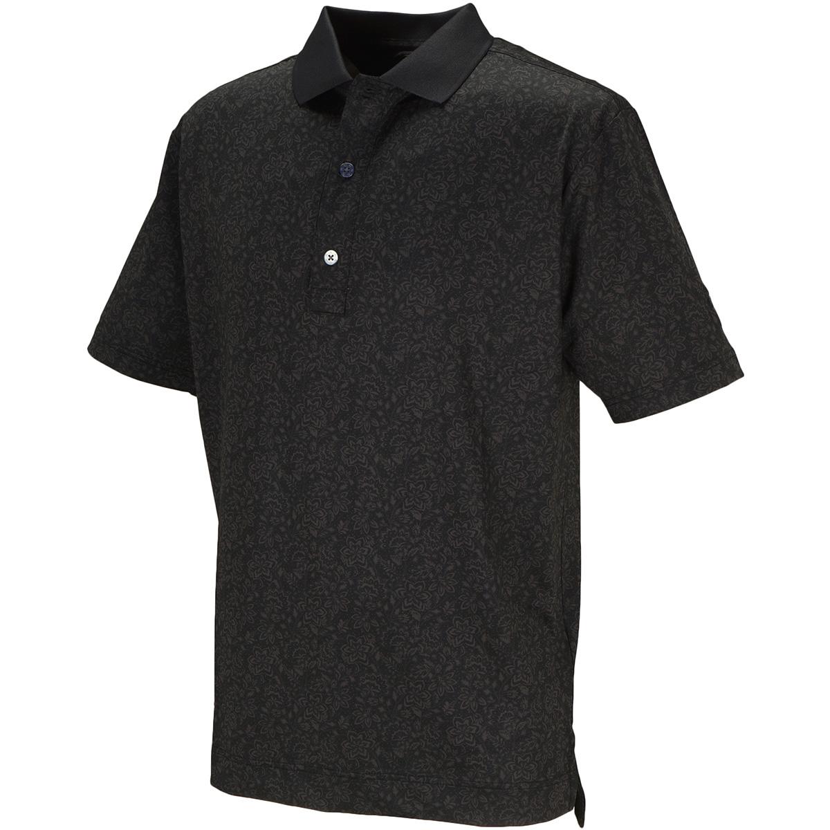 フローラルプリント ストレッチ半袖ポロシャツ