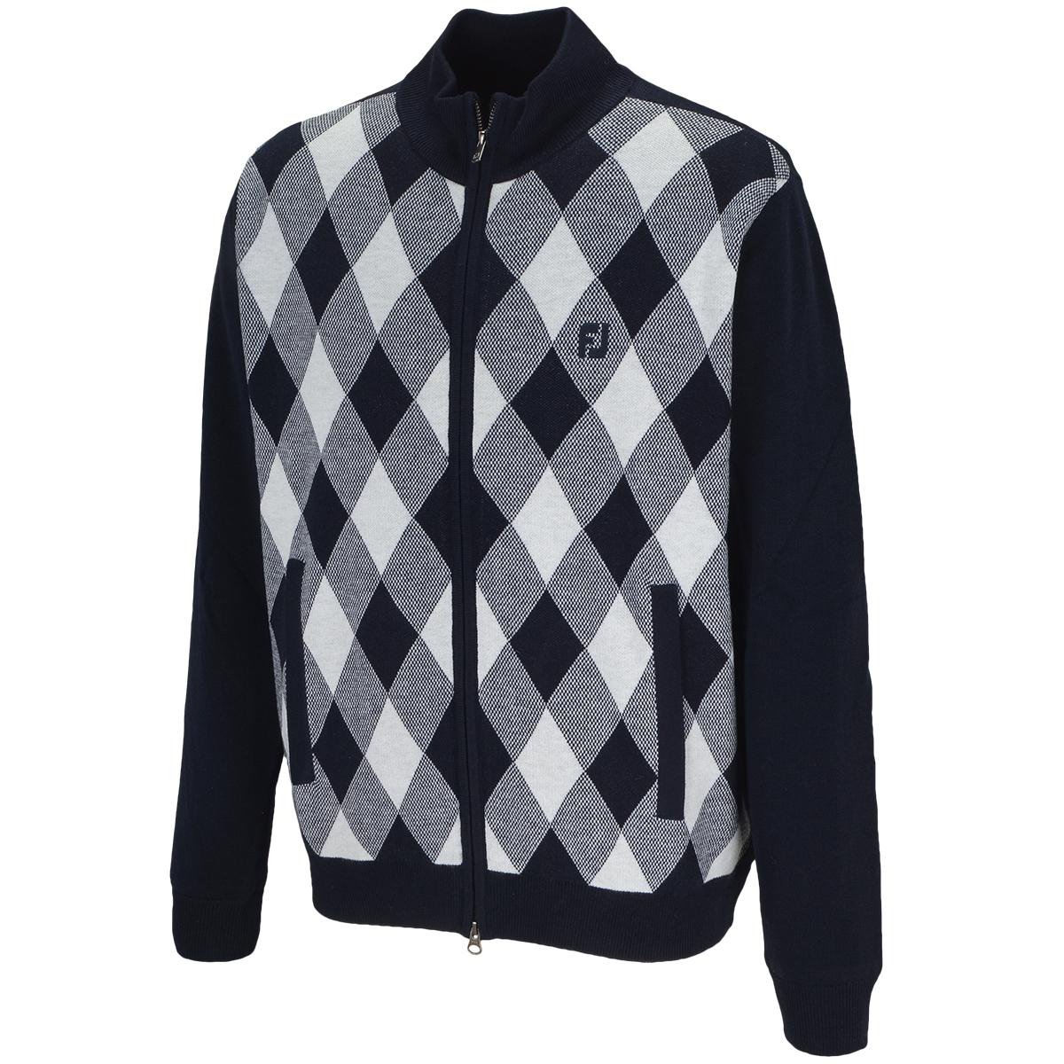 防風フルジップ アーガイルセーター