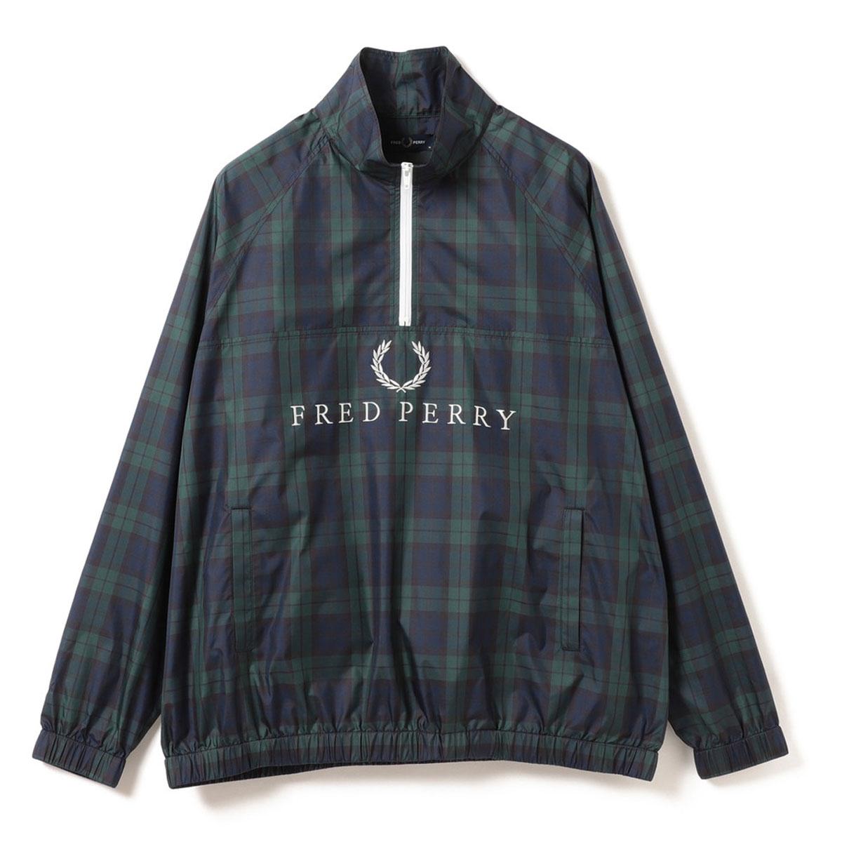 FRED PERRY×BEAMS GOLF チェック ハーフジップ プルオーバー ジャケット