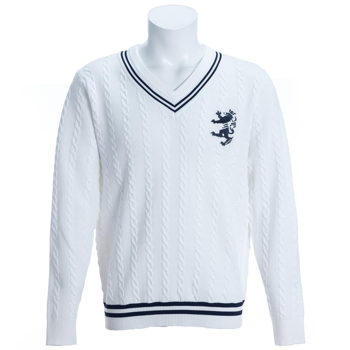 ストレッチ ケーブルVネックセーター