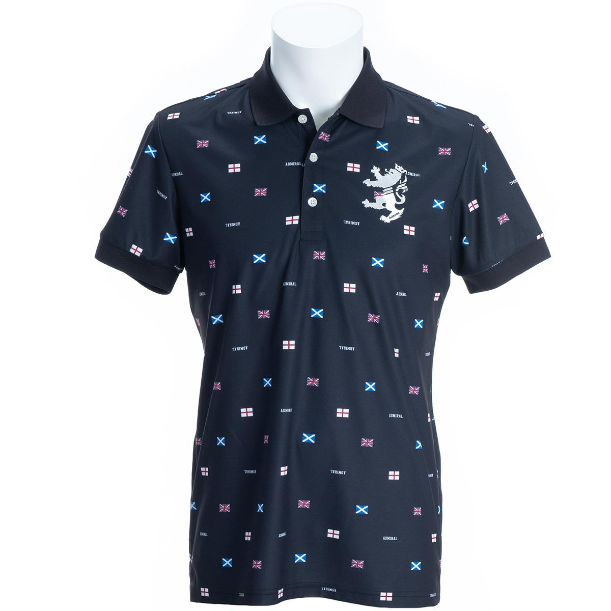 ストレッチ フラッグ総柄 半袖ポロシャツ