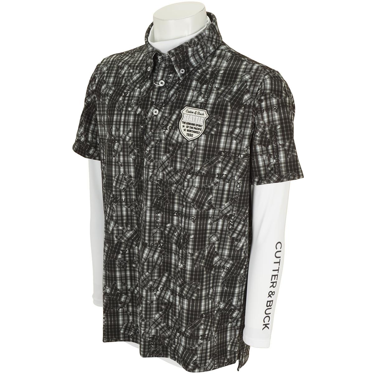 長袖インナーシャツ付き 半袖ニットボタンダウンポロシャツ
