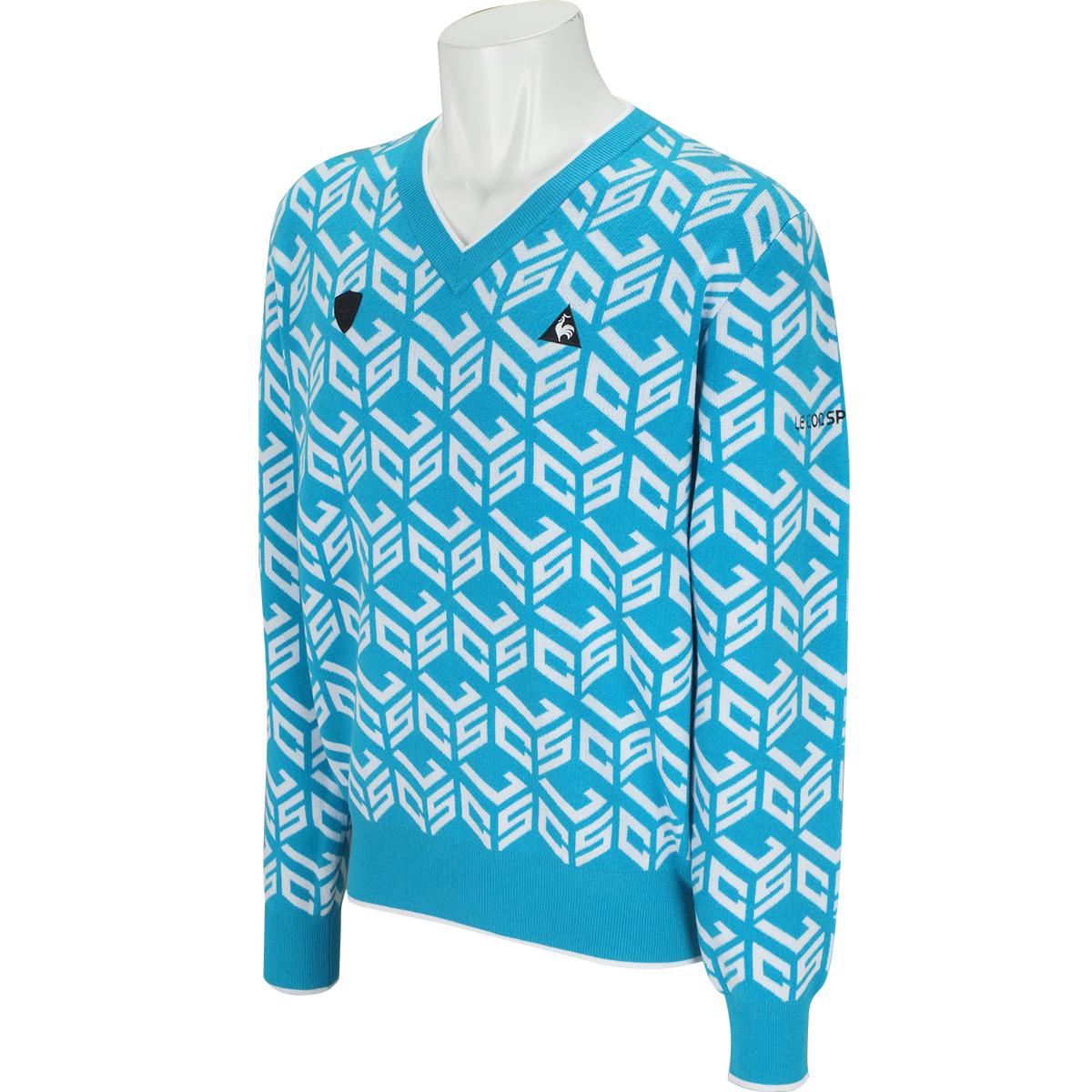 キューブロゴ ジャガードVネックセーター